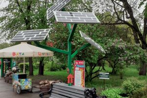 Solar charging station for mobile devices in Kiev zoo